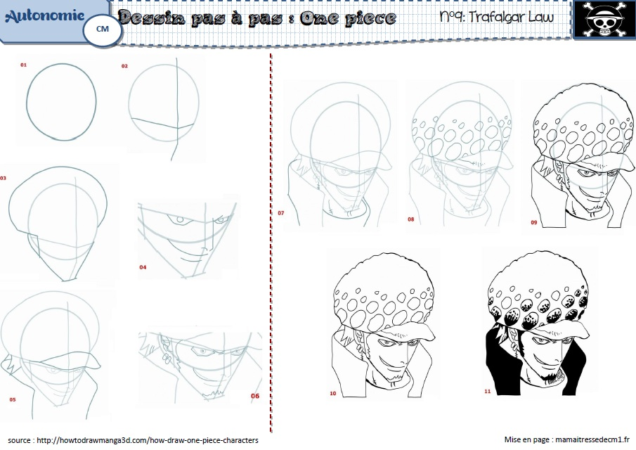 Comment dessiner trafalgar law - Comment dessiner luffy ...