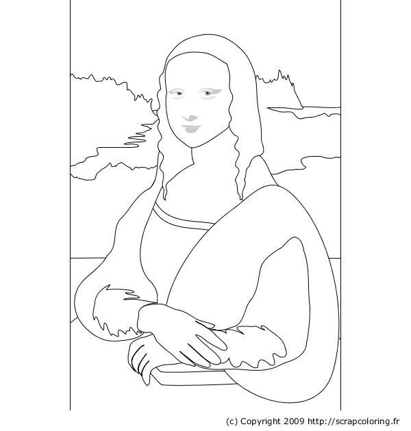 Comment dessiner la joconde for Mona lisa coloring pages