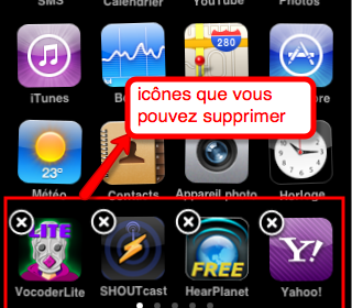 comment mettre 5 icones en bas de l'iphone