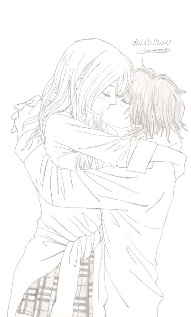 comment dessiner 2 personne qui s u0026 39 embrasse