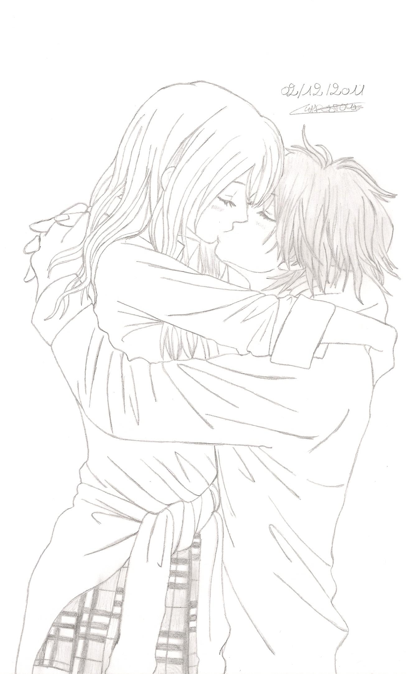 comment dessiner 2 personnes qui s embrassent