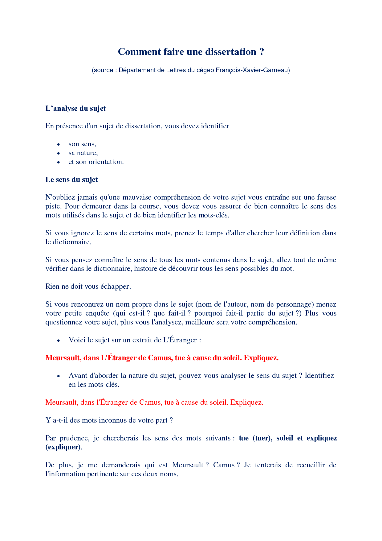 Comment faire un plan de dissertation en franais