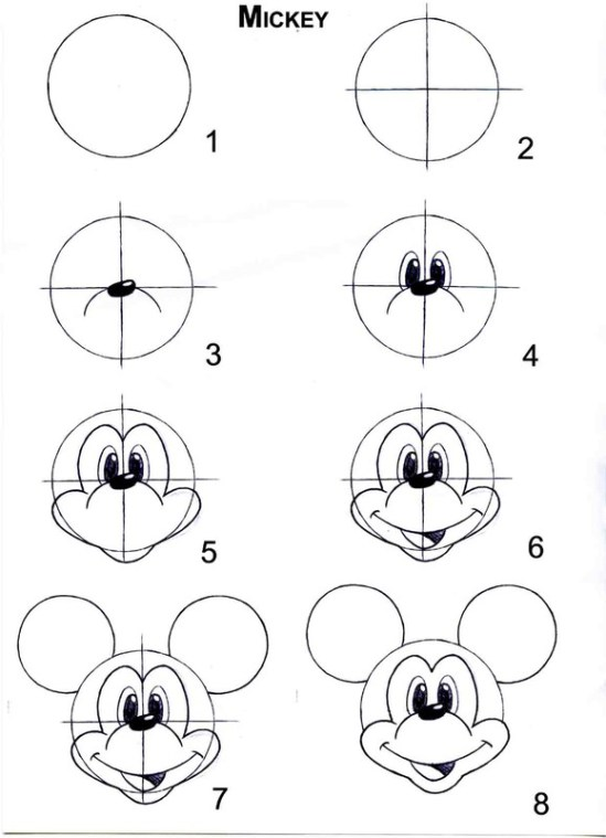 Comment dessiner mickey - Dessin de disney facile ...